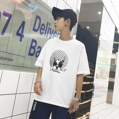 2018夏季新款港风潮男个性狗印花圆领落肩短袖宽松休闲T恤T08-P19