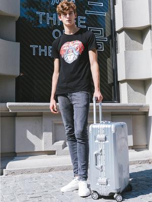 拉杆箱高颜值铝框旅行箱万向轮女男26学生网红行李箱ins潮铝框20
