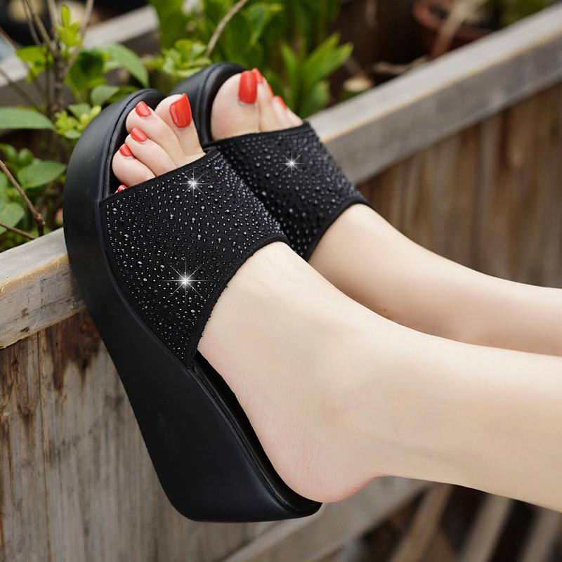 足意尔康2021夏季新款高跟拖鞋女真皮休闲外穿厚底百搭坡跟凉拖鞋