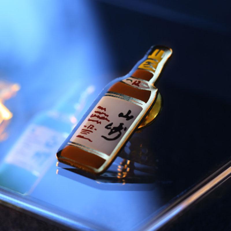 日本山崎蒸馏所限定知多威士忌酒瓶创意胸针酒吧个性衣服饰品别针
