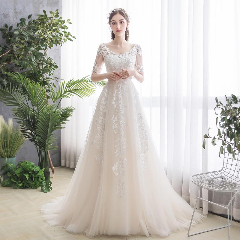 婚纱女2019新款新娘法式超仙赫本森系简约轻便轻纱拖尾小个子显瘦券后416.00元