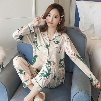 春季睡衣女开衫薄款长袖甜美休闲家居服女春秋装针织棉质宽松套装