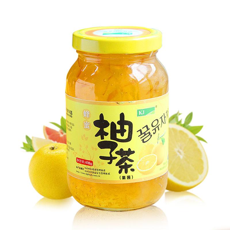 ~天貓超市~韓國kj 蜂蜜柚子茶405g隨身裝 水果茶罐頭柚子萌禮