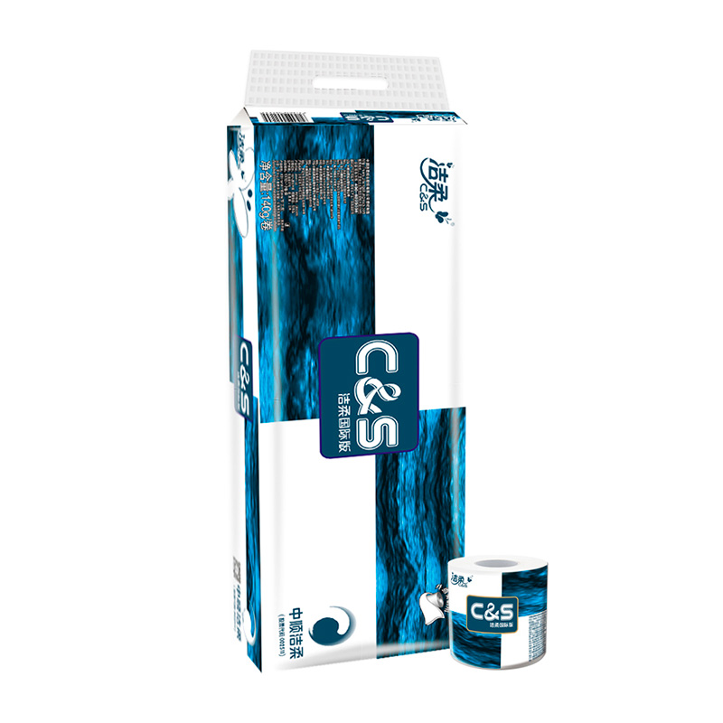 ~天貓超市~潔柔卷紙 藍麵子 有芯卷紙140g3層12卷裝紙巾