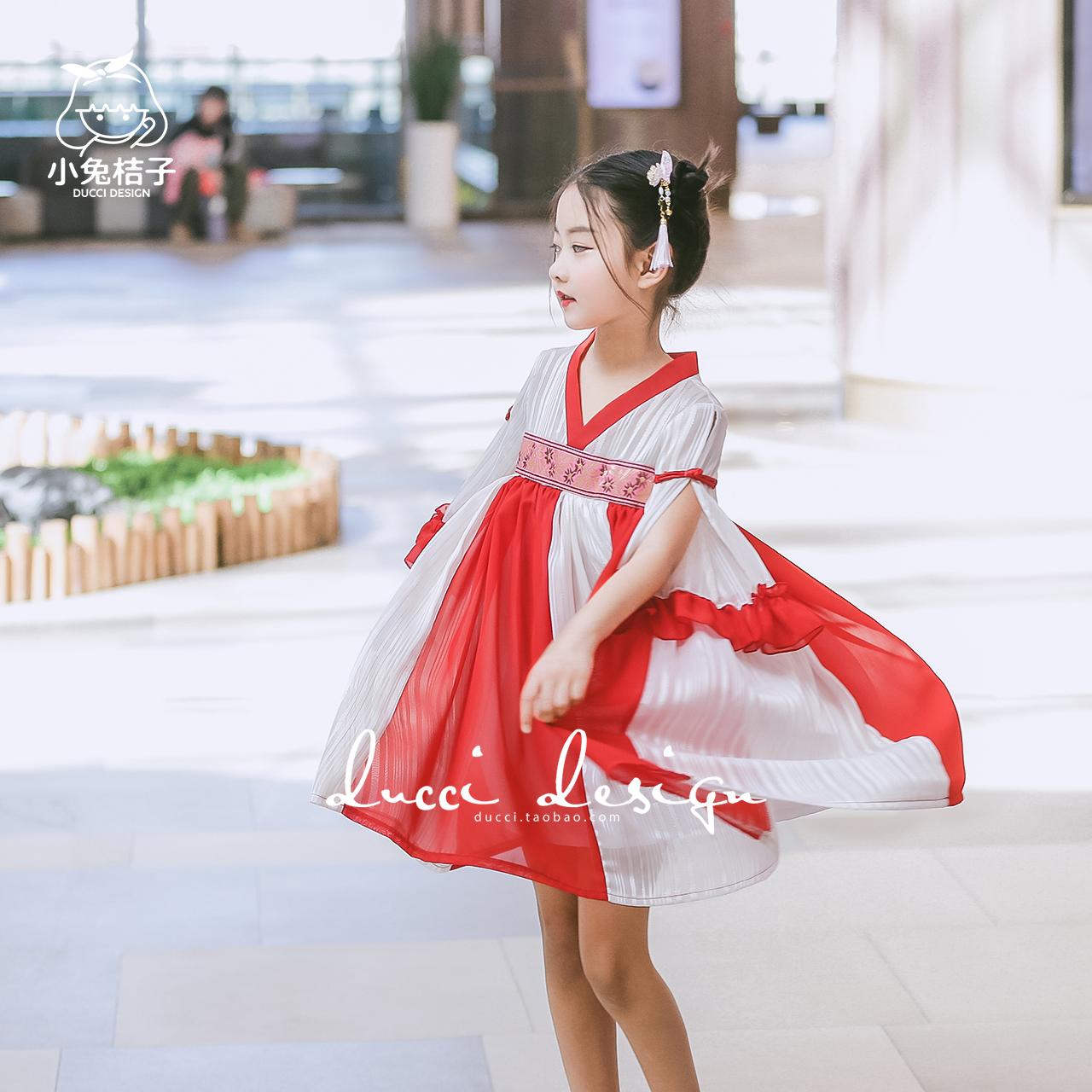 女童汉服裙民族风春夏新款儿童拼接甜美雪纺纱裙复古旗袍连衣裙