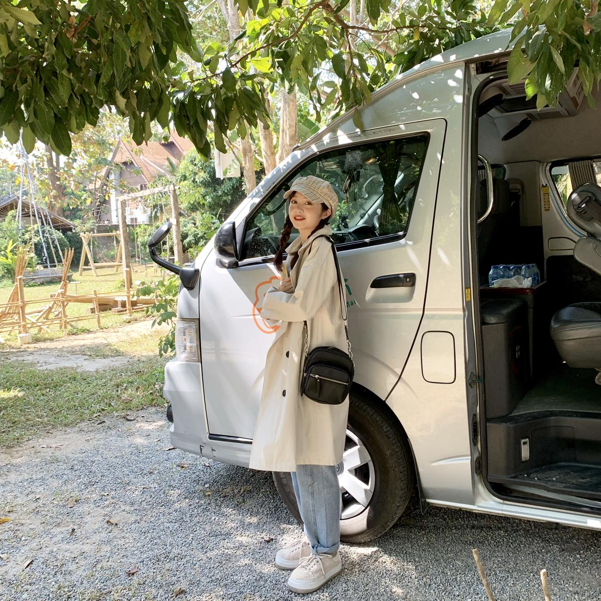 YUKIXIAOSHU双排扣分码质感显高显瘦中长风衣外套女春韩系日系20