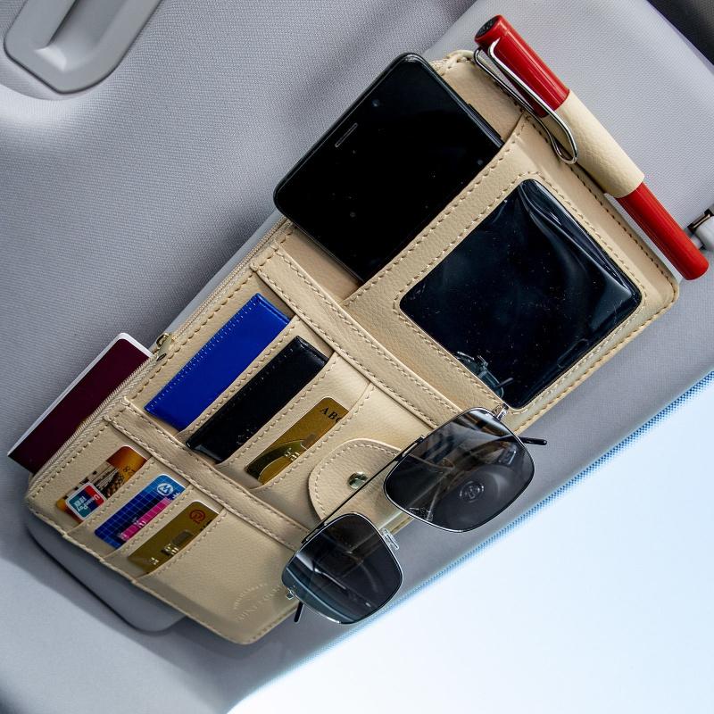 汽车遮阳板收纳多功能车载眼镜夹卡片夹皮革收纳袋卡包车用内饰