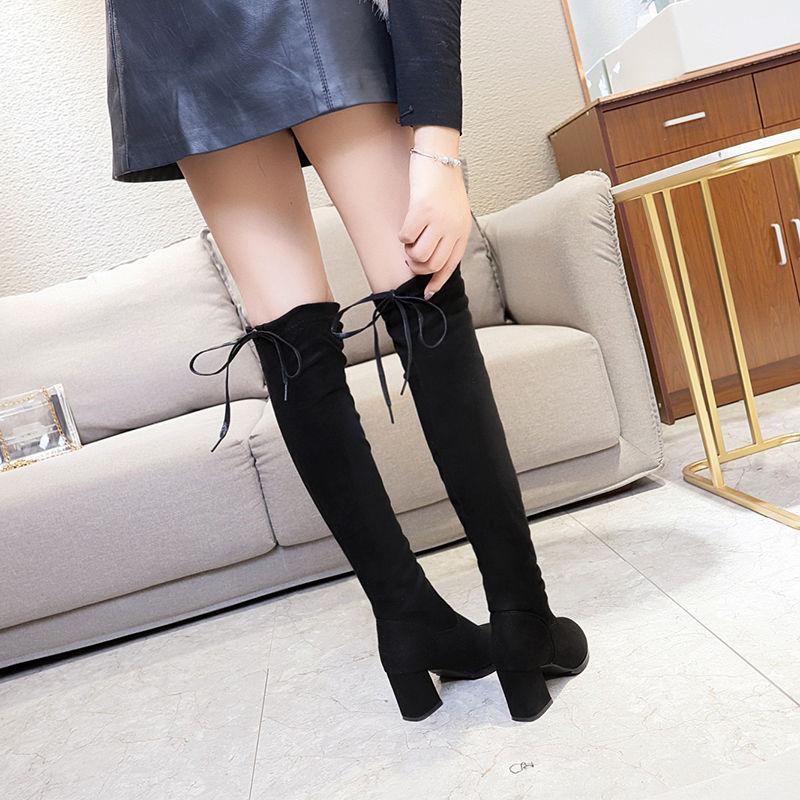 新款过漆靴长靴女2019秋冬显瘦粗跟尖头高筒靴长筒靴高跟P22