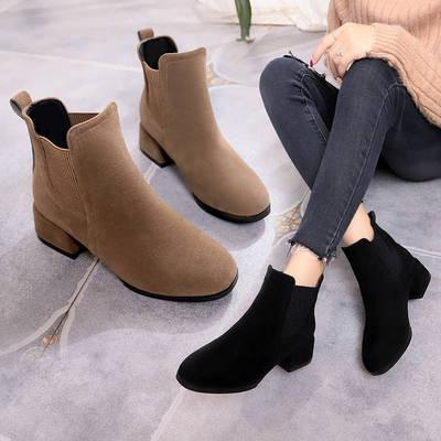 磨砂短靴女中跟2020新款粗跟圆头时装靴女士切尔西靴一脚蹬妈妈18