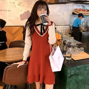 學院風內搭打底裙法式復古娃娃領蝴蝶結紅色針織連衣裙秋冬小個子