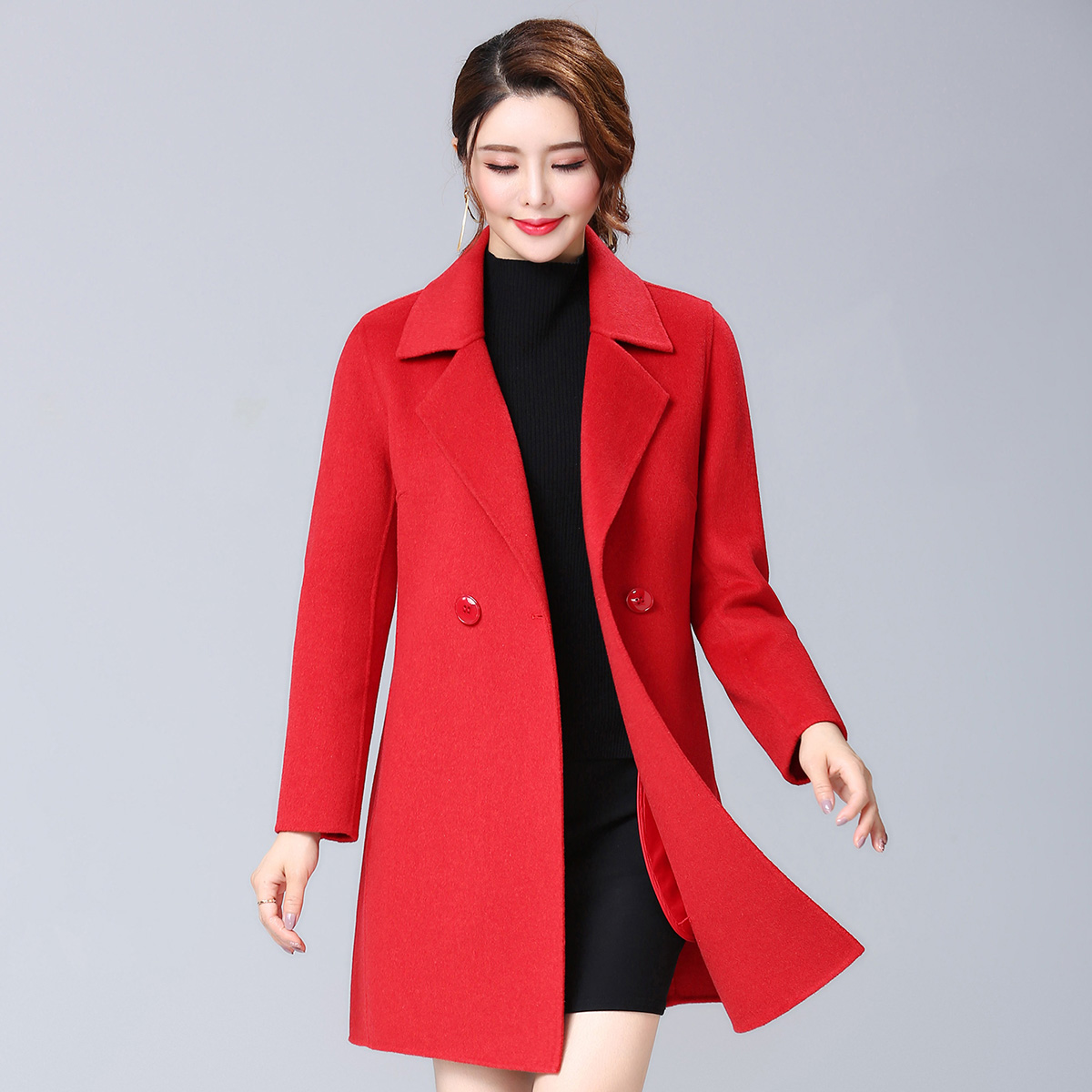 New double faced womens Chinese overcoat in fall / winter 2020
