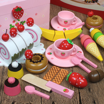 Childrens wooden cut fruit toys and vegetables to see the cutting music boys and girls over the family cut cake toy set