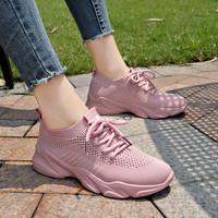飛織鏤空網面透氣運動鞋女夏季2020新款韓版百搭學生休閑跑步鞋子