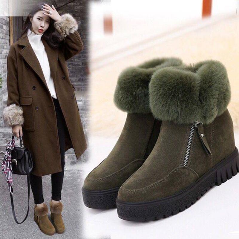 内增高雪地靴女冬季2019新款短筒短靴学生韩版兔毛加绒靴保暖棉鞋