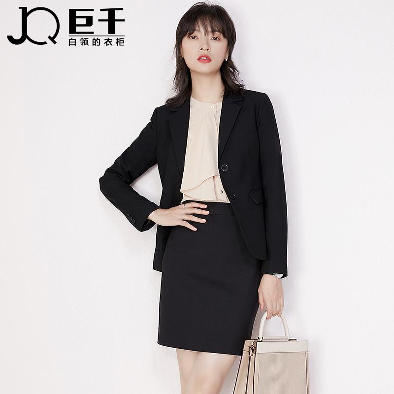 巨千西装外套女士长袖面试正装套装春秋高级感黑色职业小西服上衣