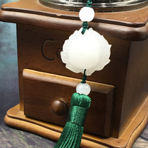 Shang fringed lotus Chinese wind spike retro hanging ear clear ancient style white jade hand pendant fan Pendant