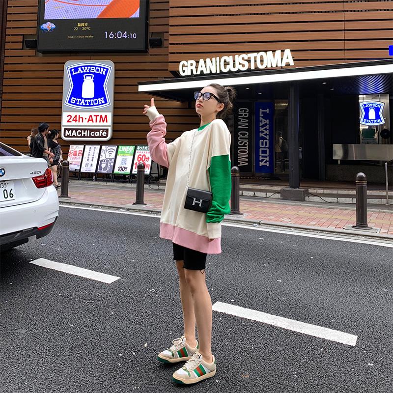 x-panda初秋新款2019网红tb宽松卫衣女圆领套头慵懒风上衣潮ins(非品牌)
