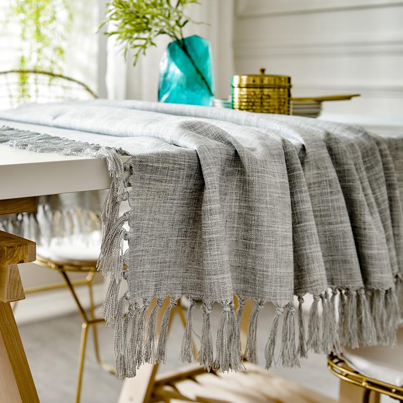 美式棉麻桌布文艺北欧ins餐桌布艺日式布艺方圆形茶几桌垫定制