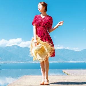 短裙女夏2018新款茶卡盐湖裙子韩版修身雪纺连衣裙普吉岛旅游衣服