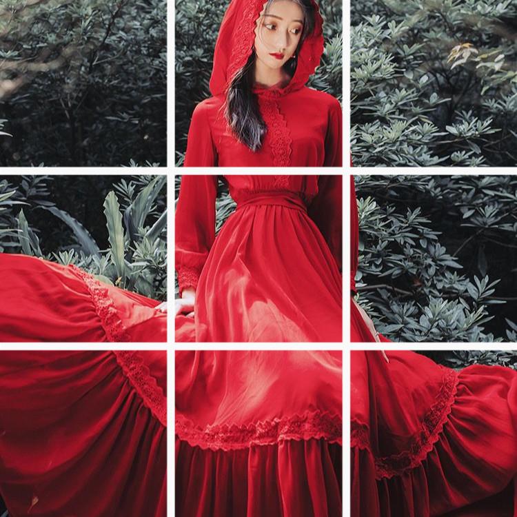 沙漠長裙紅色連帽長袖大擺雪紡仙女連衣裙海邊度假沙灘裙