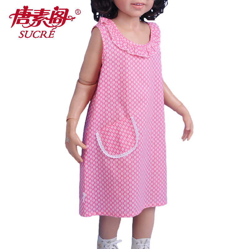 Summer girls vest skirt, home clothes, printed Pullover nightdress, babys sleeveless pajamas, pure cotton woven ultra thin dress