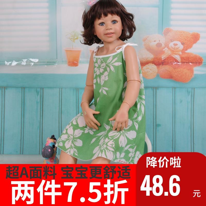 唐素阁纯棉儿童女童女孩女宝吊带睡裙无袖家居服夏季超薄短款睡袍