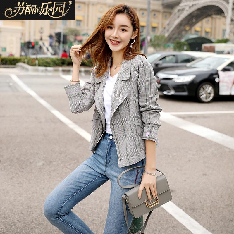 外套女春2019新款韩版修身时尚潮气质淑女半开领双排扣格子小西装