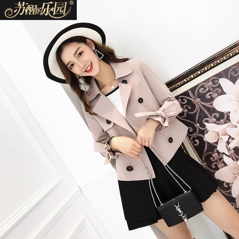 春装2018新款女装外套韩版时尚设计双排扣西装领修身系带绑袖短款