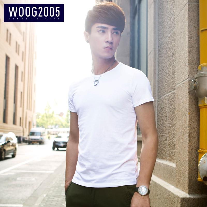 woog2005圓領男士白色簡約純色打底衫