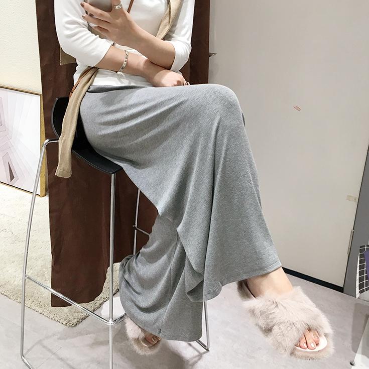 2018秋季新 纯色宽松螺纹莫代尔松紧腰垂感阔腿裤大码九分裤女