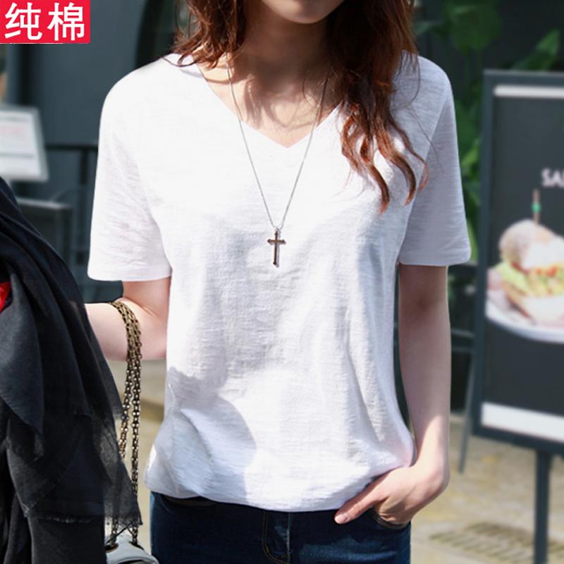 热销0件包邮2019夏季新款纯白色v领短袖t恤
