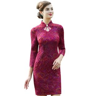 高端婚礼妈妈装连衣裙短袖夏秋新款婆婆礼服修身红色结婚宴礼服裙