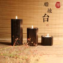 实木质蜡烛台浪漫烛光晚餐摆件复古客厅卧室买就送蜡烛一盒