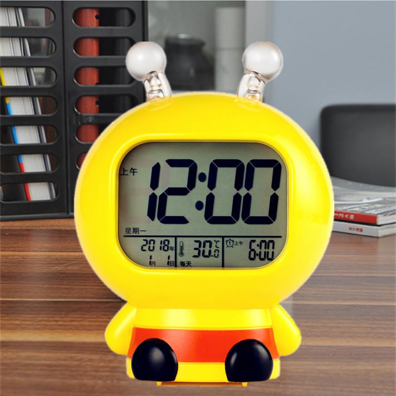 (用2元券)卡通充电闹钟学生用床头静音电子钟儿童多功能数字小时钟智能夜光