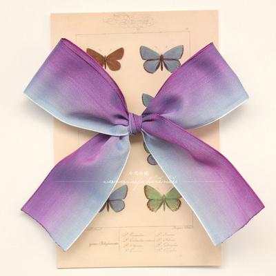 紫霞仙子小鸟小姐原创渐变蓝紫色大蝴蝶结发绳少女lolita发夹