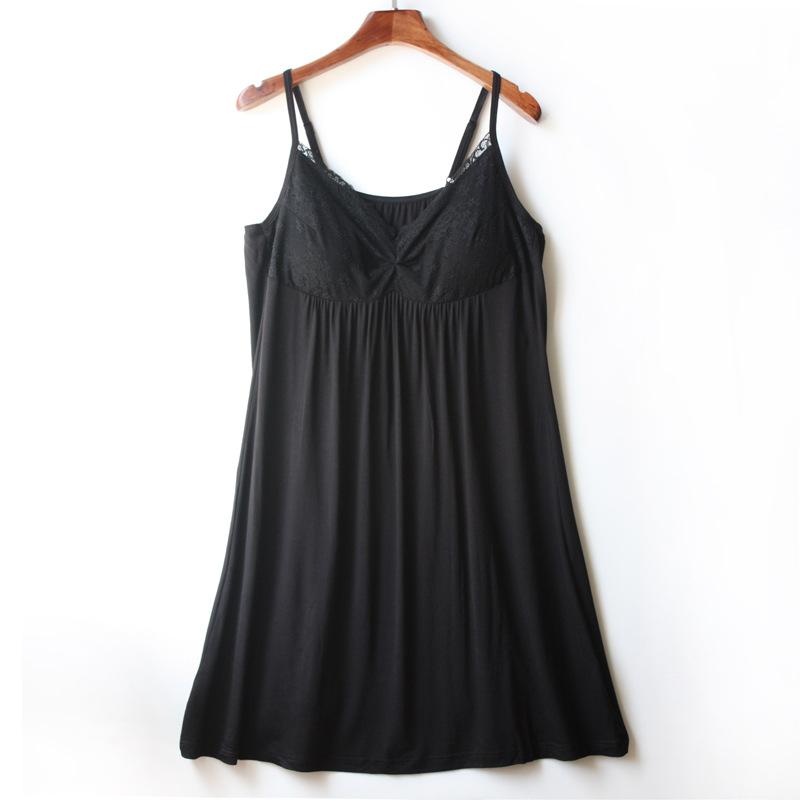带胸垫睡裙莫代尔吊带睡衣裙夏季性感家居服蕾丝花边宽松家居服