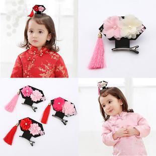 復古寶寶髮飾頭飾淑女立體女童髮夾小孩格格髮卡小童兒童公主邊夾