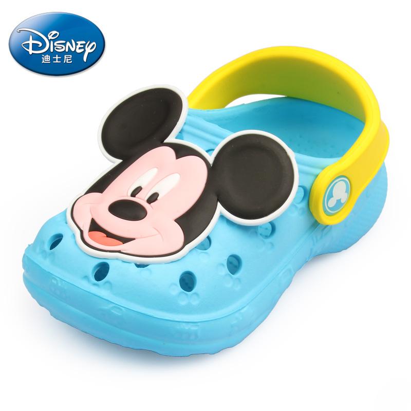 迪士尼嬰兒拖鞋兒童童鞋男童洞洞鞋女童透氣沙灘鞋寶寶浴室涼拖鞋