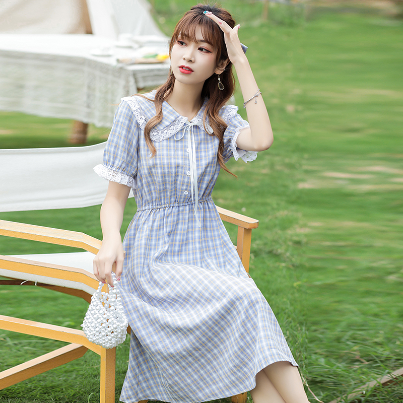 實拍2021夏季中長款新款連衣裙復古格子桔?;ㄟ呁尥揞I小清新3572