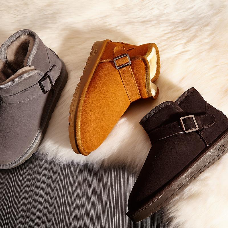 ZGR雪地靴女短靴冬季男短筒一脚蹬女靴子保暖加绒雪地棉大码女鞋