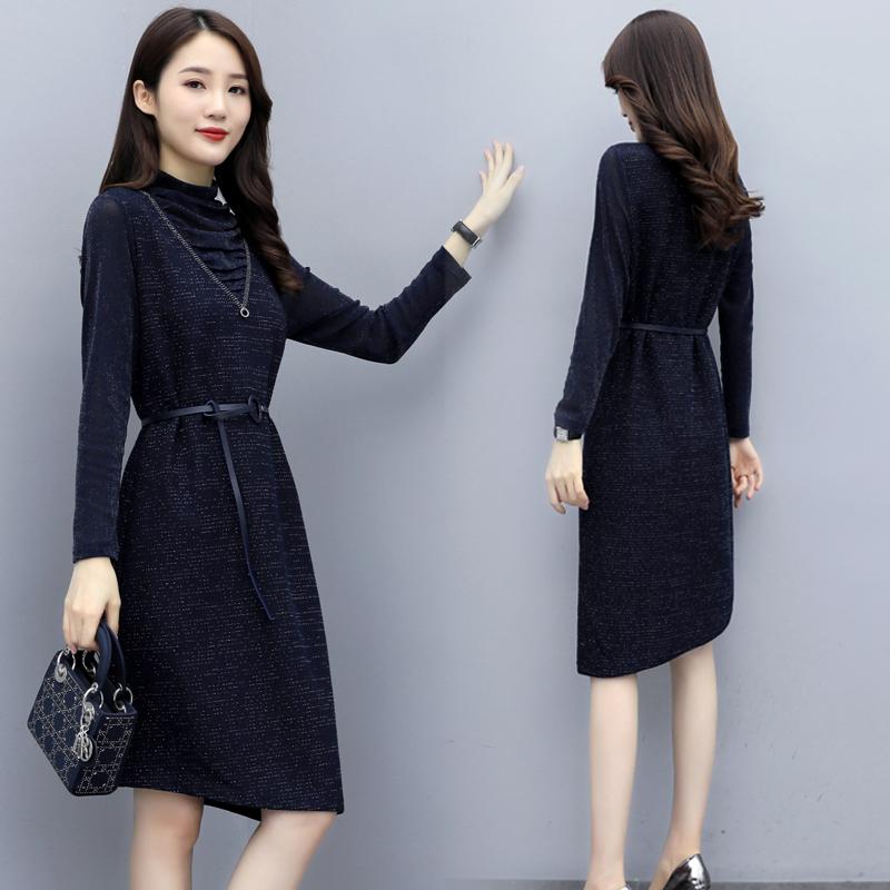 1951 kuzhiyichun 2019 autumn new Xiaoxiang snow spinning knee length skirt A-line dress p95