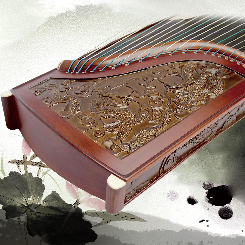新款古金丝楠木雕刻专业演奏入门考级演出古筝(红木边款) 九龙图
