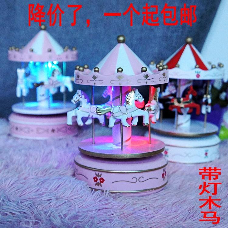 包郵 旋轉木馬音樂盒木質八音盒 創意生日禮物 蛋糕烘焙裝飾品