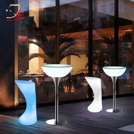 夕彩led发光桌椅组合创意防水奶茶咖啡酒吧台桌子KTV户外休闲餐桌