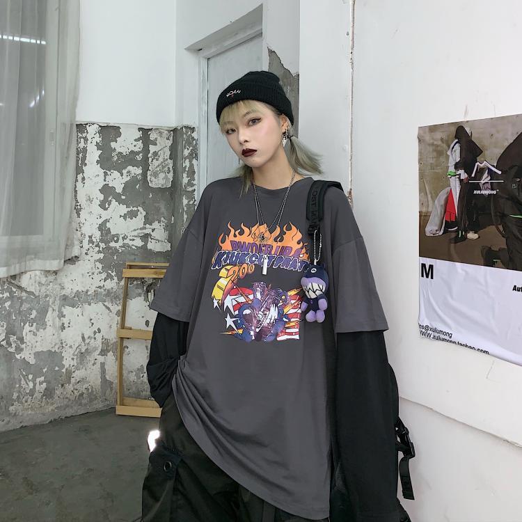 实价控价36秋季新款韩国复古火焰烫图假两件拼接长袖T恤男女潮