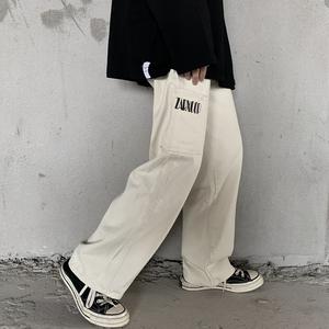 实价控价46 夏季潮复古口袋字母印花阔腿拖地裤牛仔裤男女款,男装牛仔裤,男女主角