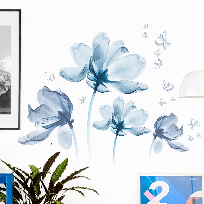 3D立體墻貼紙浪漫花朵臥室墻面裝飾貼畫房間溫馨背景墻壁自粘墻紙