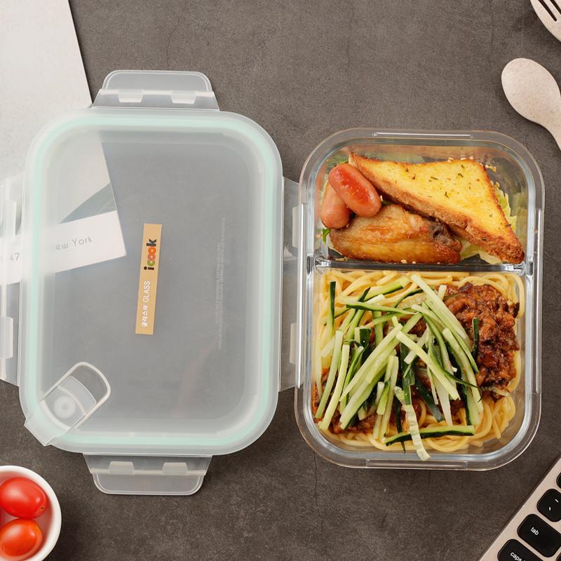 新品iCook耐热玻璃分隔饭盒微波炉学生分格便当密封碗带盖1020ML thumbnail