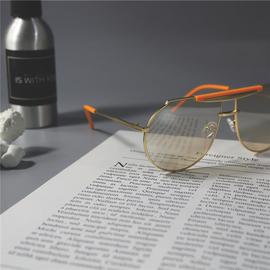 欧美风格撞色飞行员墨镜防紫外线辐射防蓝光型男反光镜面太阳眼镜图片