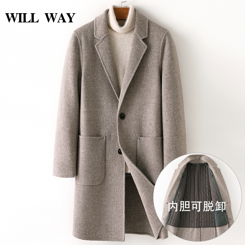 Double-sided wool overcoat Men's medium and long suit collar cashmere-free windbreaker Thickened removable linen wool autumn and winter coat